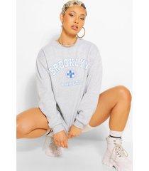 extreem oversized brooklyn sweater met tekst, grijs gemêleerd
