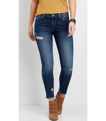 flying monkey™ womens dark wash destructed skinny jeans blue - maurices