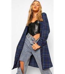 oversized lange geruite blouse, navy