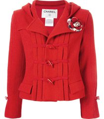 chanel pre-owned 2006s cc long sleeve hooded duffle coat jacket - red