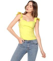 blusa con boleros amarilla mítica