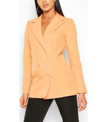 tall double breasted woven blazer, orange