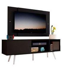rack madesa cairo e painel para tv até 58 polegadas com pés de madeira preto/branco 8n77 mdes0200188n77