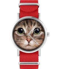 zegarek - kot tygrysek - czerwony, nylonowy