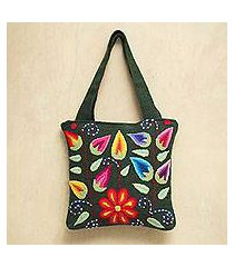 wool shoulder bag, 'floral fiesta' (peru)