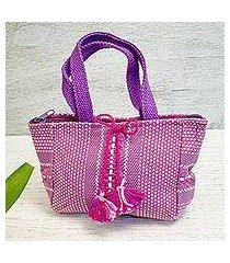 cotton handbag, 'chic pink' (mexico)