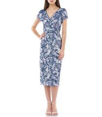 women's js collection jacquard cocktail dress