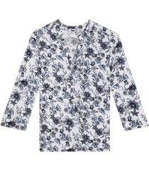 blusa manga 3/4 estampado floral color azul, talla s