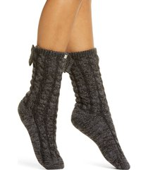 women's ugg laila bow fleece lined socks, size one size - grey