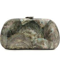 serpui cracked panel clutch purse - black