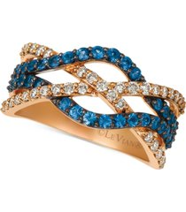 le vian blueberry sapphire (3/4 ct. t.w.) & nude diamond (3/8 ct. t.w.) intertwined ring in 14k rose gold