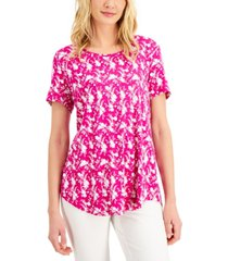 jm collection short-sleeve printed top, created for macy's