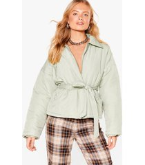 womens rain or shine belted padded jacket - sage
