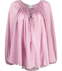 forte forte shirred detail blouse - pink