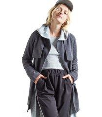jaquetas & casacos khelf trench coat sarjado preto - preto - feminino - dafiti