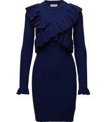 2nd frilly jurk knielengte blauw 2ndday