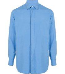 brioni pointed collar shirt - blue