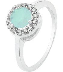 anel prata rara solitário princesa verde