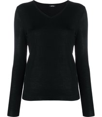 aspesi v-neck pull over jumper - black