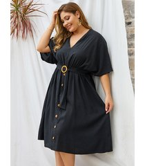 plus tamaño negro cinturón diseño medias mangas con cuello en v vestido