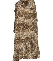 printed mesh lång kjol brun ganni