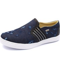 sapatênis slip on shoes grand jeans escuro destroyer com couro preto.