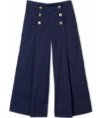 monnalisa blue cotton trousers