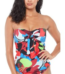 bar iii knot-front bandeau tankini top, created for macy's women's swimsuit