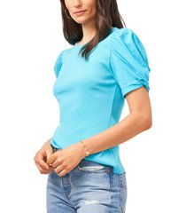 1.state puff sleeve rib knit t-shirt, size x-large in turquoise at nordstrom
