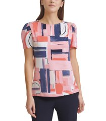 dkny printed button-shoulder top