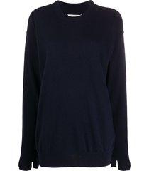 maison margiela oversized glove-detail knitted jumper - blue
