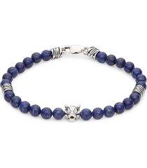 effy men's sterling silver & lapis lazuli beaded bracelet
