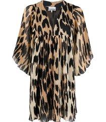 pleated oversized leopard print mini dress