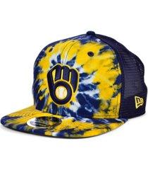 new era milwaukee brewers tie dye mesh back 9fifty cap