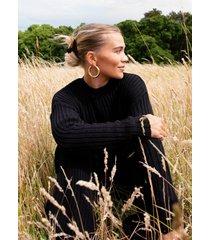 womens shake knit off sweater and pants lounge set - black