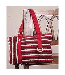 wool shoulder bag, 'claret parallels' (peru)