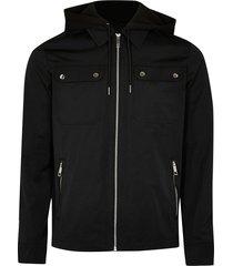 river island mens black hooded zip up jacket