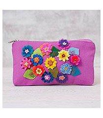 cotton clutch purse, 'spring's arrival' (peru)