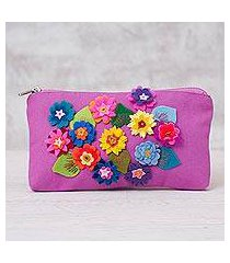 cotton clutch purse, 'spring's arrival' (peru)