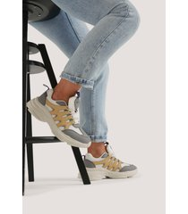 na-kd shoes chunky sneakers med sicksackmönster - grey