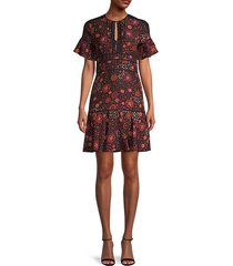 mini floral a-line silk dress