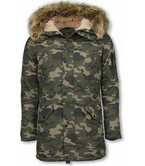 heren winterjas lang - kunstkraag - camouflage