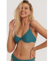 na-kd swimwear basic bikini cup bra - turquoise