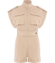 korte jumpsuit met col breeze  beige