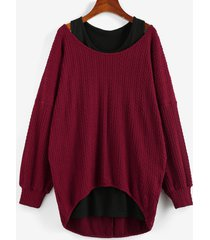 drop shoulder high low jacquard sweater and plain tank top