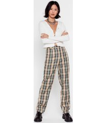 womens beige high-waisted pants with check print