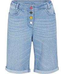 bermuda comfort in jeans elasticizzato con cinta comoda (blu) - bpc bonprix collection