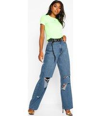 tall rip boyfriend jeans, mid blue