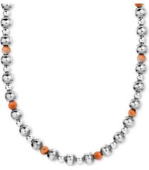"american west spiny oyster multi-bead statement necklace in sterling silver, 15"" + 2"" extender"