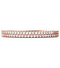 mk anello in argento sterling con placcatura in metallo prezioso e pavé - oro rosa (oro rosa) - michael kors